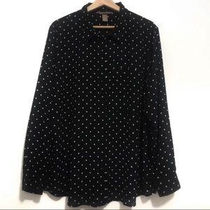 H&M Black Polka Dot Button Down Shirt Plus 2XL